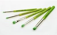 Набор кистей для глаз с бамбуковыми ручками (5 шт.)Зеленые